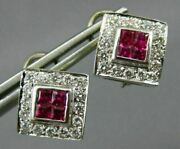 Estate 1.60ct Diamond And Aaa Ruby 18kt White Gold Square Clip On Earrings 22252