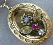 Antique .70ct Old Mine Diamond And Aaa Multi Gem 14k Yellow Gold 3d Pendant 16238