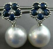 Large 1.96ct Diamond And Aaa Sapphire South Sea Pearl 18kt Gold 3d Flower Earrings