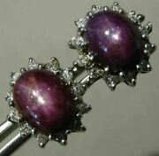 Estate Large 12.76ct Diamond And Aaa Purple Star Sapphire 14kt White Gold Earrings