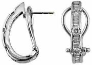 Estate .75ct Round And Baguette Diamond 14k White Gold 3d Channel Clip On Earrings