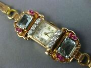 Antique Large Beleco 5.24ct Diamond And Aaa Aquamarine And Ruby 14k Rose Gold Watch