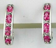 Estate 2.32ct Diamond And Aaa Pink Sapphire 14kt White Gold 3d Umbrella Earrings