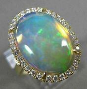 Large 4.46ct Diamond And Aaa Opal 14kt Yellow Gold 3d Oval Halo Anniversary Ring