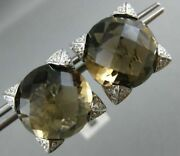 Estate Extra Large 11.78ct Diamond And Aaa Smokey Topaz 18k White Gold 3d Earrings
