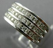Estate Wide .67ct Diamond 14kt White Gold 3 Row Classic Channel Anniversary Ring
