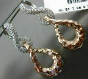 Estate Large 1.1ct Diamond 14kt White And Rose Gold 3d Love Knot Hanging Earrings