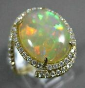 Estate Large 4.64ct Diamond And Aaa Opal 14kt Yellow Gold 3d Oval Halo Snake Ring