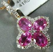 Large 2.72ct Diamond And Aaa Pink Sapphire 18kt Rose Gold 3d Clover Flower Pendant