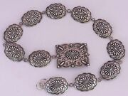 Heavily Stamped Navajo Sterling Silver Large Concho Belt By Jabe And Alice Dubois