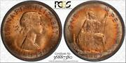 1967 Great Britain One 1 Penny Pcgs Ms64rd Circle Toned Coin In High Grade