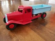 Vintage Large Structo Pressed Steel Toy Dump Truck Tin Toy Lot Old Toy Antique