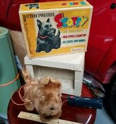 Vintage Alps Cragstan Scotty Dog Tin Fur Battery Op Toy Japan In Box Tin Toy Lot