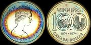 1974 Canada Winnipeg Silver Dollar High Quality Color Toned Coin