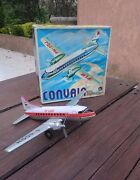 Vtg 1970s Air West Airlines Tin Friction Dc-3 Plane With Ob Lemy Poliumex Mexico