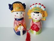 Ceramic Coin Banks Of Chinese Bride And Groom Retro Set Of 2