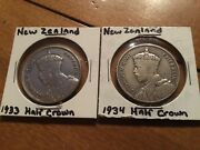 1933 And 1934 New Zealand Silver Half Crown Coins Km5 Geo V .2273 Asw
