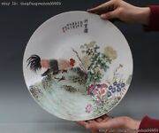 100chinese Minguo Folk Rose Wucai Porcelain Cock Rooster Flower Dish Plate Tray
