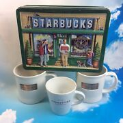 Starbucks 1971 Repop Pike Place Retro Collection Vintage Tin Mugs Gold Plate Lot