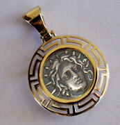 God Apollo Greek Coin Pendant With Frame Solid Gold K14 And Sterling Silver 925