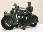 Antique Cast Iron Hubley Blue Motorcycle