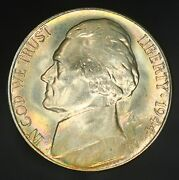 1944-s Jefferson Nickel Superb Gem Unc With Rainbow Colorful Toning Gc453