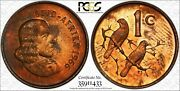 1966 South Africa 1 Cent Pcgs Pr65rb Afrikaans Color Toned Only 5 Graded Higher