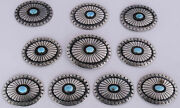 Old Huge Sterling Silver Sleeping Beauty Turquoise 10 Piece Concho Belt Buckle