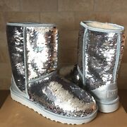 Ugg Classic Short Silver Sparkles Sequin Sheepskin Boots Size Us 8 Womens
