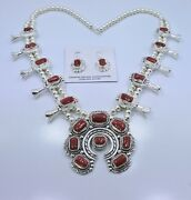 Deep Red Coral Squash Blossom Necklace Earrings Sterling Silver