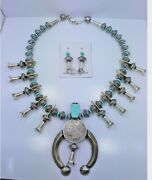 Navajo Squash Blossom Necklace Set Sterling Silver Turquoise Mercury Dimes