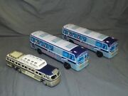 Vintagetin Litho Frictiongreyhound Scenicruiser Busthree Pc Lot1960and039s Japan