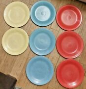 Lot Of 8 Vintage Homer Laughlin Fiesta Ware 10.5 Dinner Plates Blue Yellow Red