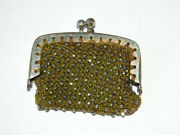 Victorian Miniature Coin Purse Marcasite Encrusted Green Knitted Fabric