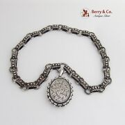 Antique Victorian Sterling Silver Book Chain Collar Oval Locket Pendant 1890
