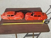Vintage Tin Plastic Ideal Wind Up Toy Cars Made In Usa Tin Toy Lot Sedan Old Toy
