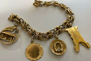Vintage 1960and039s 14k Yellow Gold 7 1/2 Charm Bracelet With Vintage Charms 37.5 Gr