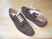 Mike Konos Wingtip Oxford Mens Shoes Lace Up Italy Brown Suede Sz 10.5 New