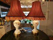 Pair1940s White Satin Hand Blown Hand Painted Table Lamps With Shabbychic Shades