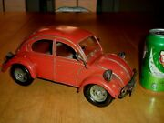 1960and039s Volkswagen Bug Car Toy Statue Metal Construction 11 Length Vintage