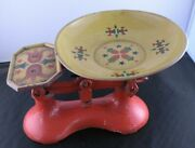 Antique Cast Iron Colorful Candy Scale Porcelain Heavy And Ornate Works Unique