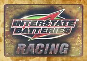 Interstate Batteries Racing Tin Metal Sign Wall Lodge Cafes Sale