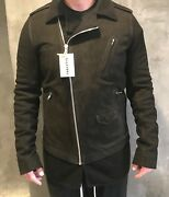 Rick Owens Ramones Leather Biker Jacket W/cashmere 42/large New With Tags