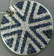 Estate Large 3.70ct Diamond And Aaa Sapphire 18k White Gold 3d Round Star Pendant