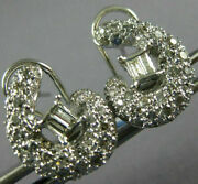 Estate Large 1.80ct Diamonds 18k White Gold 3d Round And Baguette Clip On Earrings