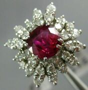 Antique Large 2.70ct Diamond And Aaa Ruby 14k White Gold 3d Engagement Ring 23903