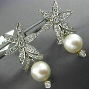 Estate Large 1.50ct Diamond And Pearl 18k White Gold Flower Hanging Earrings 26041