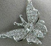 Antique Large 1.30ct Diamond 14k White Gold 3d Classic Butterfly Necklace 19728