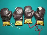 Four Vintage 1970's Everlast Boxing Gloves Heavily Used Great Man Cave Display