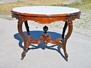 Rosewood Victorian Marble Top Center Lamp Tableinset Marble